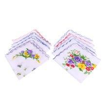 10 х волнистый хлопковый квадратный носовой платок с цветочным