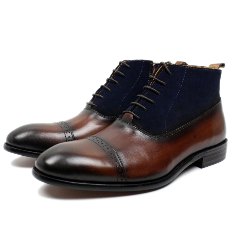 Big Size 39-46 Fashion Gentleman Ankle Boots Genuine Leather And Suede Cap Toe Lace Up Mens Dress Shoes Brown Black Basic Boots