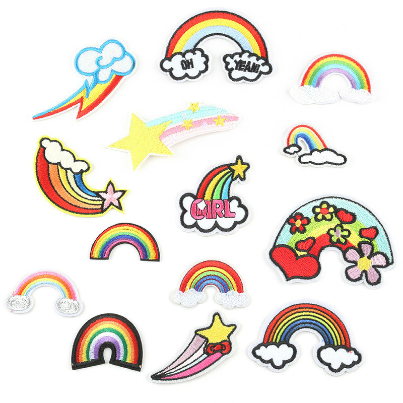 New Rainbow CloudyPatches Embroidered Iron on Patch for Clothing DIY Stripe Cute Applique Fabric Apparel Accessory Badge Parches