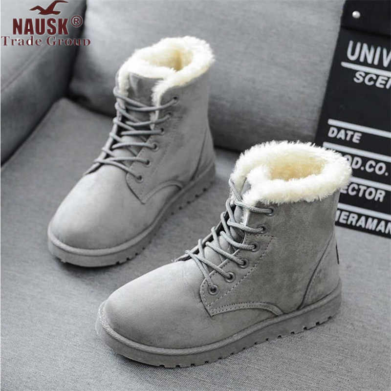 Women Boots  2019 Winter Snow Boots Female Boots Duantong Warm Lace Flat with Women Shoes Tide Shoes F031 Hot Sale 35-40