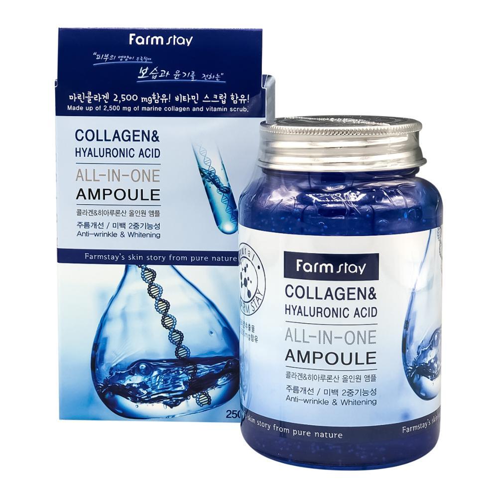 FarmStay / Многофункциональная сыворотка для лица / Collagen & Hyaluronic Acid (250 мл) / Корейская косметика