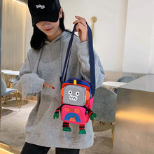 Women Canvas Robot Coin Purse bags mini Shoulder bag for ladies Casual Messenger Bags Fashion female Mobile phone bags bolso(China)