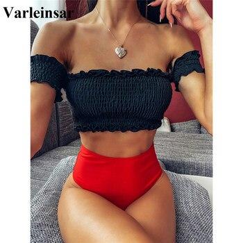 2020 nueva Sexy biquini plisado cintura alta traje de baño mujeres traje de baño Bikini hombro bañista traje de baño de mujer V1843