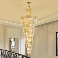Duplex Villa Spiral Stair Chandelier Long Crystal Chandelier Lighting Modern Living Room Luxury Large Gold Crystal Light Fixture