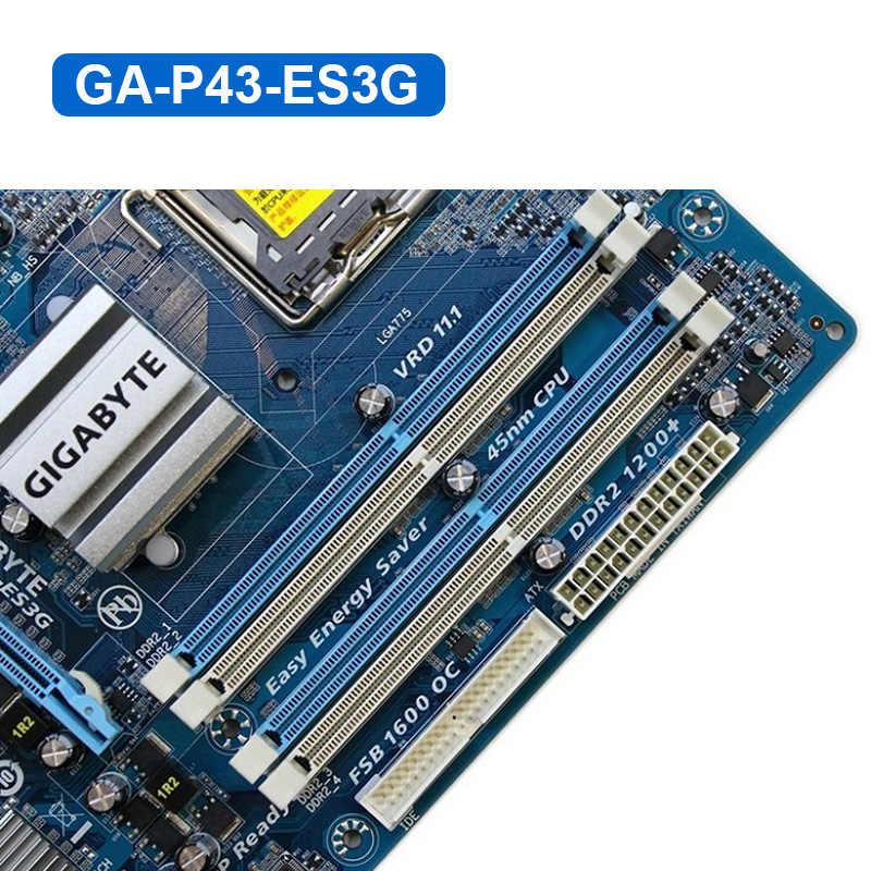 جيجابايت GA-P43-ES3G سطح المكتب اللوحة P43 المقبس LGA 775 ل كور 2 بنتيوم D DDR2 16 جرام ATX P43-ES3G اللوحة الرئيسية مجددة