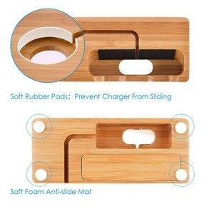 Image 3 - Multi Estación de carga USB con acoplamiento de madera de bambú, 3 puertos, soporte de montaje de cargador de teléfono móvil para Apple Watch iPhone X/8/8Plus/7Plus