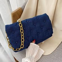 Retro Blue Women Bags Chain Shoulder Bag Branded Trend Handbags and Purses Luxury Women #8217 s Fashion Trending Hand Bag cheap SUNNY BEACH FLAP Shoulder Bags Shoulder Handbags CN(Origin) Canvas Hasp SOFT Silt Pocket B-1236 Polyester Versatile Solid