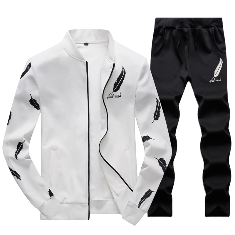 MYAZHOU2018 Men's Sportwear Suit Sweatshirt Tracksuit Without Hoodie Men Casual Active Suit Zipper Outwear 2PC Jacket+Pants Sets