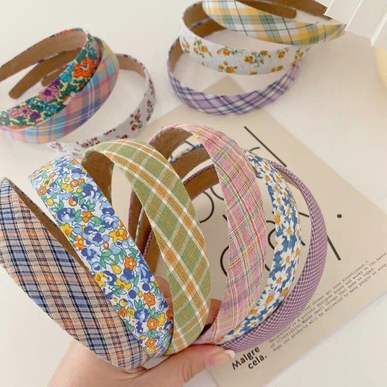 Süße Sommer Floral Dünne Breite Stirnbänder Vintage Koreanische Plaids Mädchen Haarbänder Mode Kopf Wrap Tiara Ornament Haar Zubehör