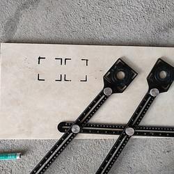 Składana linijka lokalizator otworów na płytki uniwersalne regulowane szkło murarskie naprawiono perforowane wielofunkcyjne narzędzie do układania płytek|Zestawy narzędzi ręcznych|Narzędzia -