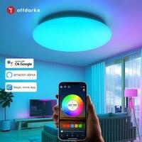 OFFDARKS-luces de techo inteligentes LED modernas, iluminación del hogar regulable, WiFi, APP, inteligencia Artificial, Control por voz, lámpara de techo, 28W