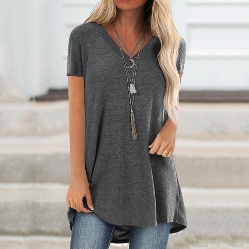 5xl Plus Size Women Tunic Shirts футболка женская 2020 Summer Solid Color Sexy V Neck Blouses Casual Short Sleeve Long Shirt(China)