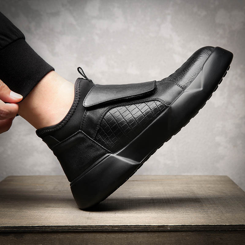 2019 Black Leather Shoes Men Early Winter Boots Cool Young Men Fashion Chelsea Boots Men Casual Shoes Male Winter Footwear A1756