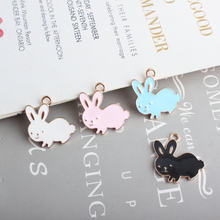 50pcs/lot alloy drop oil animals cartoon rabbits shape metal floating locket pendants charms diy jewelry accessory(China)