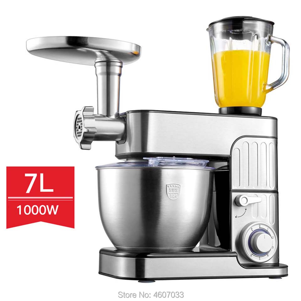 7L Large Capacity Bowl 6-speed Kitchen Chef Electric Food Stand Mixer Egg Whisk Dough Cream Blender Juicer Meat Grinder Mincer