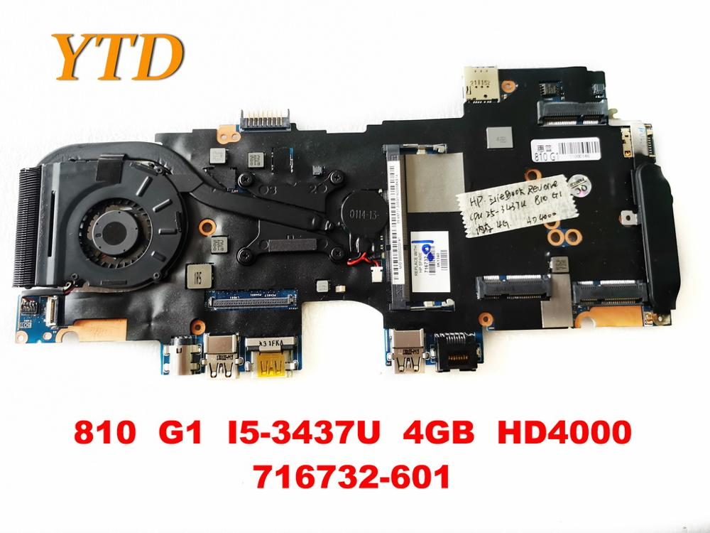 Original for <font><b>HP</b></font> <font><b>810</b></font> <font><b>G1</b></font> laptop motherboard <font><b>810</b></font> <font><b>G1</b></font> I5-3437U 4GB HD4000 716732-601tested good free shipping image