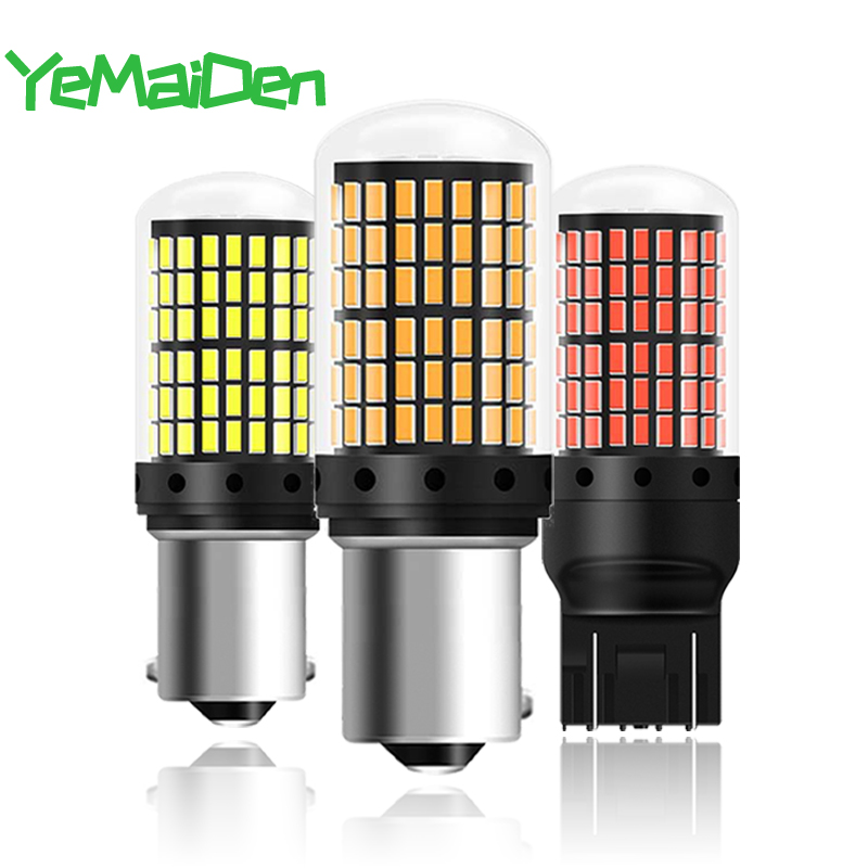 2x <font><b>1156</b></font> <font><b>P21W</b></font> PY21W BAU15S BA15S LED Bulb <font><b>Canbus</b></font> No error W21W T20 7443 LED Turn signal Light Brake Parking Reverse Lamp 144 SMD image
