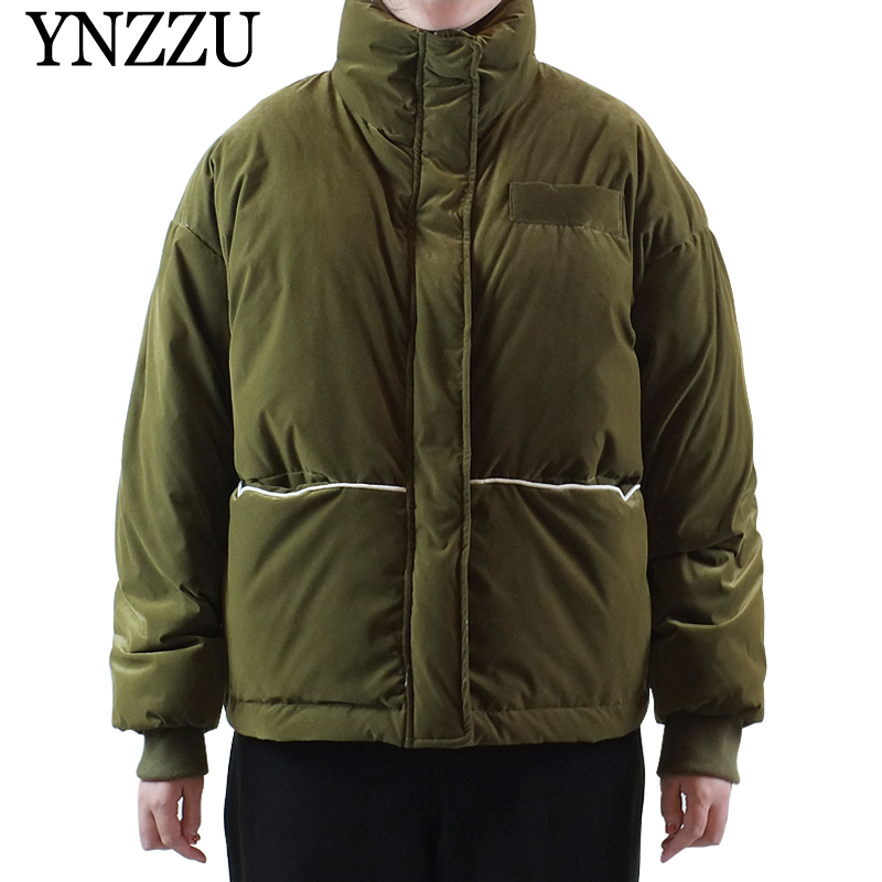 2019 Winter Army green Women   down   jacket High collar Long sleeve Velvet   Down     coat   Oversized casual Short Outerwear YNZZU 9O010