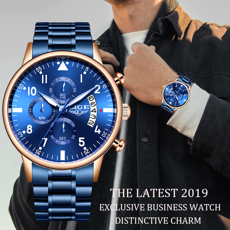 Men Watches LIGE Top Brand Luxury Stainless Steel Blue Waterproof Quartz Watch Men Fashion Chronograph Male Sport Military Watch