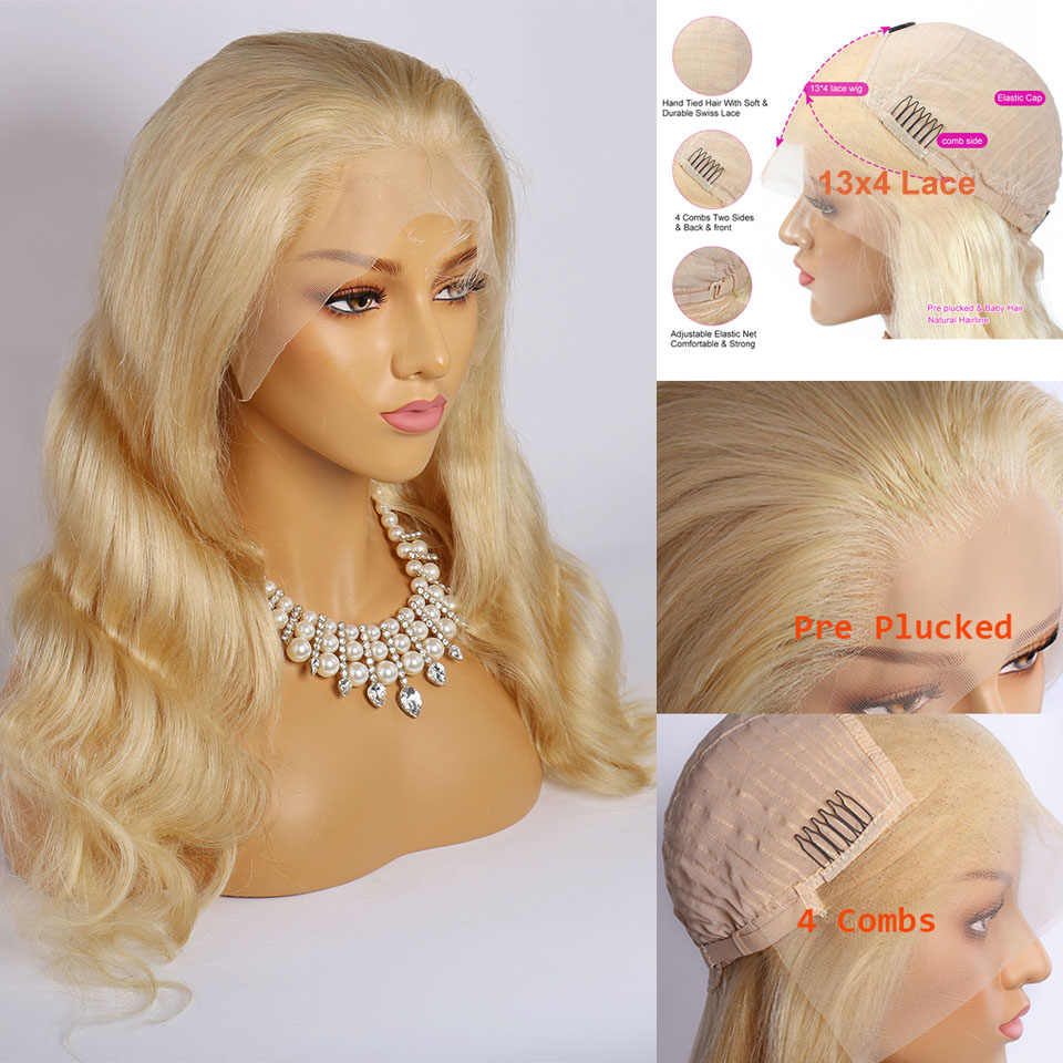 Perruque Lace Front Wig naturelle Body Wave Remy | Blond 613, 13x6, 613, perruque Lace Wig HD, cheveux humains, 150%