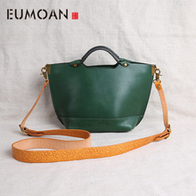 EUMOAN Summer handmade leather women's bag, hand-held retro literary bag, leather one-shoulder hand-held stiletto bag local focal handmade classic striped hand bag