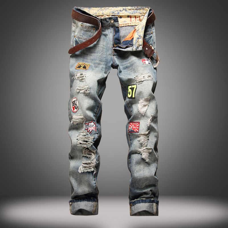 2019 nuovi Uomini Dei Jeans Degli Uomini Classici Jeans di Marca Pantaloni Skinny Strappati Per Gli Uomini Del Ricamo Lavato Blu Denim Pantaloni Jeans Biker