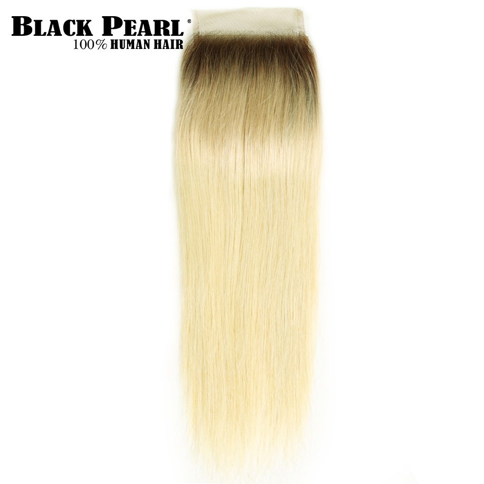 Black Pearl Hair Blonde #613 Brazilian Straight Human Hair Closure 4*4 Free/middle/three Part Remy Swiss Lace 613 Natural Color