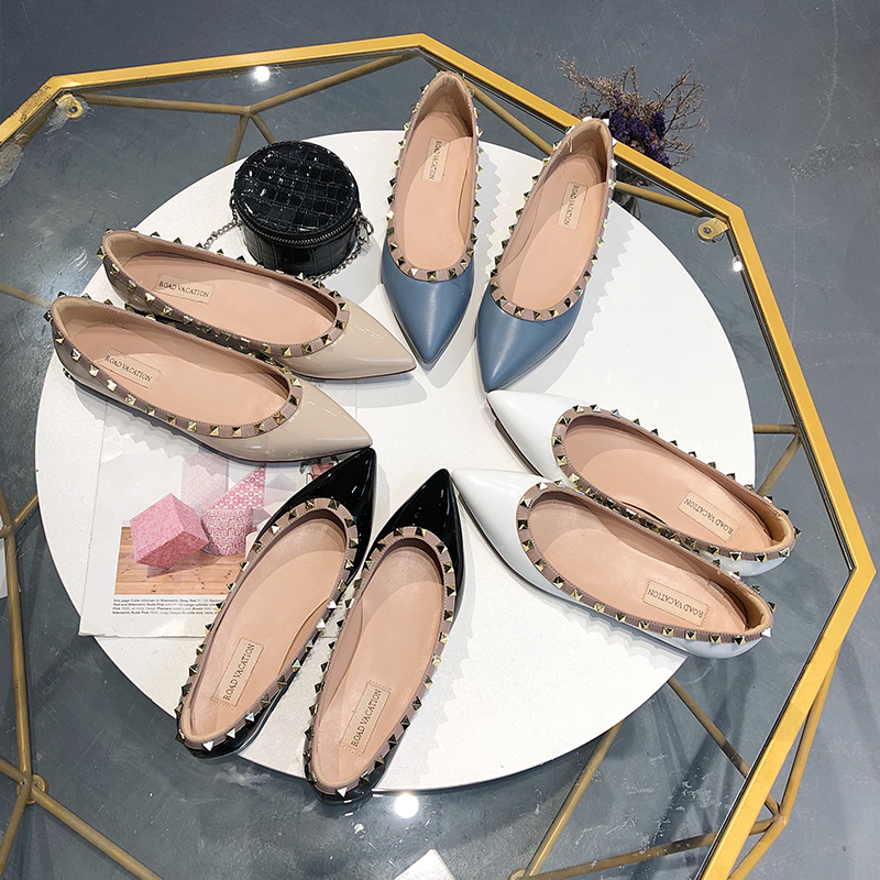 Spring and fall 2020 new leather single shoes for ladies pointed flat shoes sexy flat shoes size 34-42 women's rivet single shoe