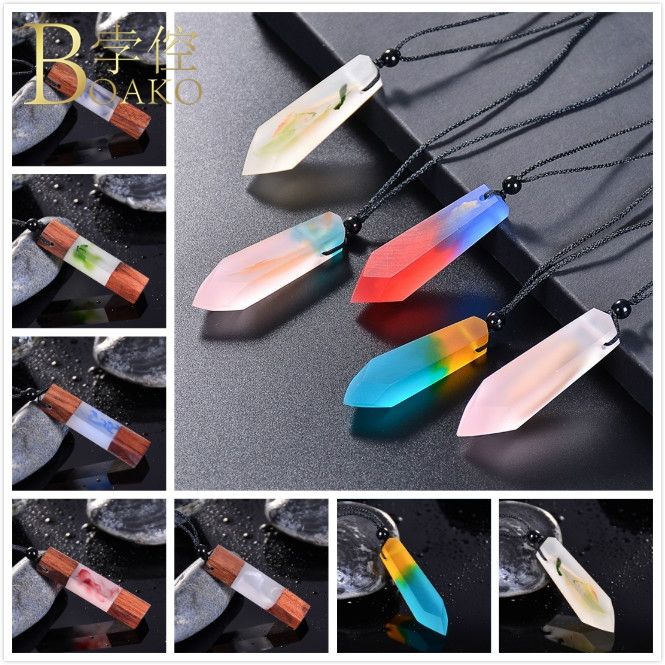 BOAKO Wood Resin Pendant Necklace Long Sweater Chain Women Men Rope Chain Necklace Vintage Wood Collar Man Jewelry Z5 in Pendant Necklaces from Jewelry Accessories