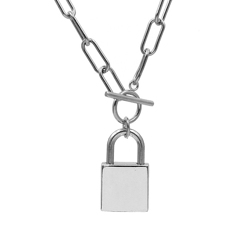 New Hip hop rock Stainless Steel Chain necklace Lock pendant necklace Gold/Steel color Padlock Necklace Fashion jewelry gifts image