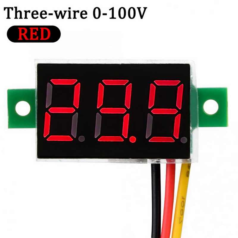 1 Pcs Digital Voltmeter LED Display Mini 2/3 Wires Voltage Meter Ammeter High Accuracy Red / Green / Blue DC 0V-30V 0-100V