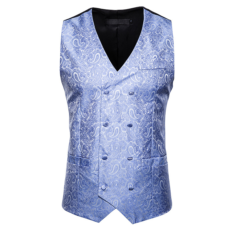 Vests Waistcoat Men Double-Breasted Dress Wedding-Gilet Paisley Party Formal New Slim-Fit