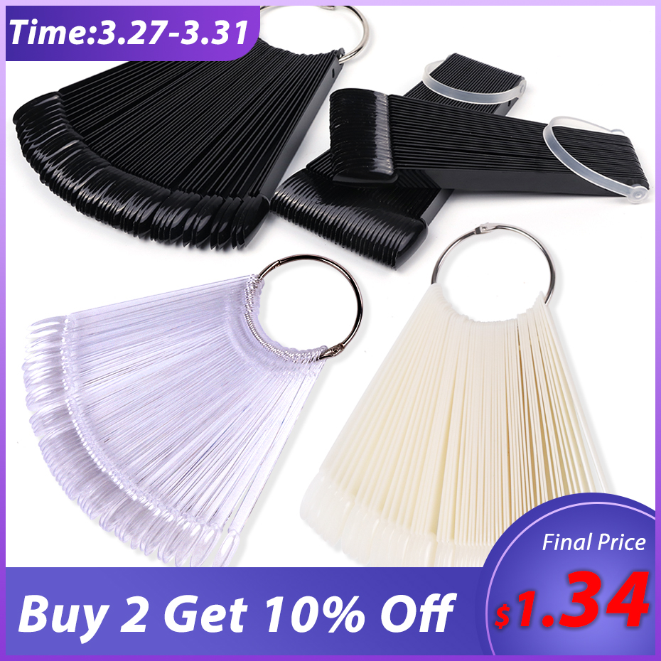 Clear Nature Black False Tips For Nail Art Display Oval Fan Style Nail Swatch Polish Stand Tips Practice Manicure Tools BEA23-1