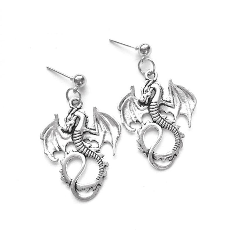Antique Silver Color Dragon Stud Earrings Stud Earrings