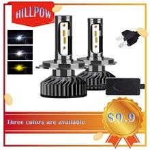 Hillpow ZES 3000K LED H7 H11 H8 HB4 H1 H3 HB3 אוטומטי F2 רכב פנס נורות 72W 8000LM 4300K 6500K אמפולה LED H4 הנורה