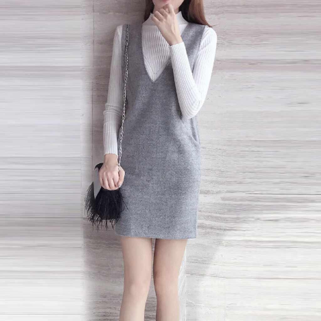 Gaya Korea Padat Anggun Gaun Wanita Musim Gugur Fashion Korea 2 Piece Suit Mini Pakaian Luar Lengan Panjang Leisure Gaun Kleider Damen