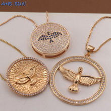 MHS.SUN New Women Fashion Zircon Holy Spirit Eagle Pendant Necklace Charm Gold Chain Necklace AAA CZ Religion Jewelry Gift 1PC(China)