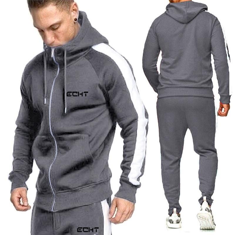 2020Sweatshirt Men's Suit Running Fitness Sportswear Casual Men's Hoodie + Pants Jogging Sports Set Men's Set