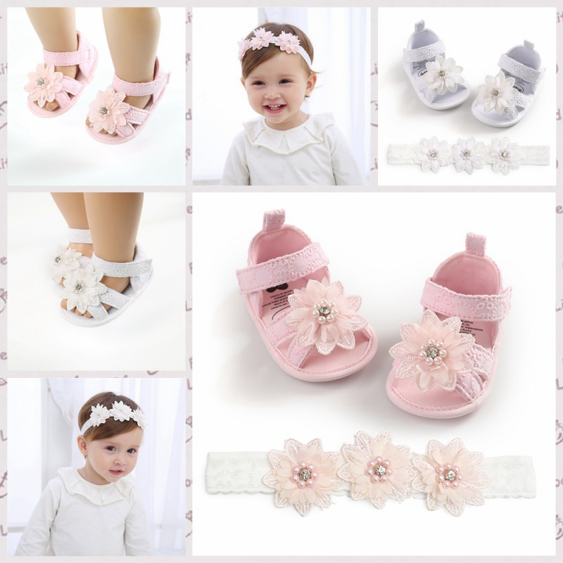 Toddler Kids Baby Girls Boys Bowknot Shoes +Headband 2PCS Lace Floral Soft Shoes Spring First Walkers 0-18M