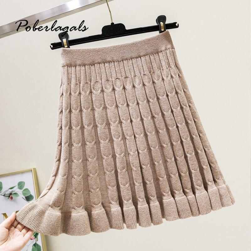 Winter Women Skirt 2019 Autumn Womens Knitted Pleated Skirt Tutu Korean High Waist College Wind Mini A Word Skirt Female Skirts