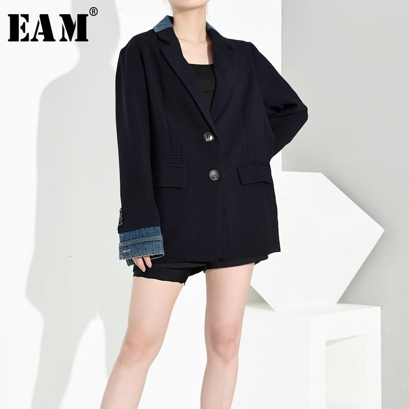 [EAM] Loose Fit Contrast Color Big Size Denim Jacket New Lapel Neck Long Sleeve Women Coat Fashion Autumn Winter 2019 1A6190