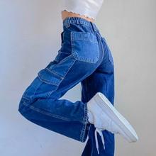 Jeans Patchwork Cargo-Pants Streetwear High-Waist Harajuku Denim Women Pockets