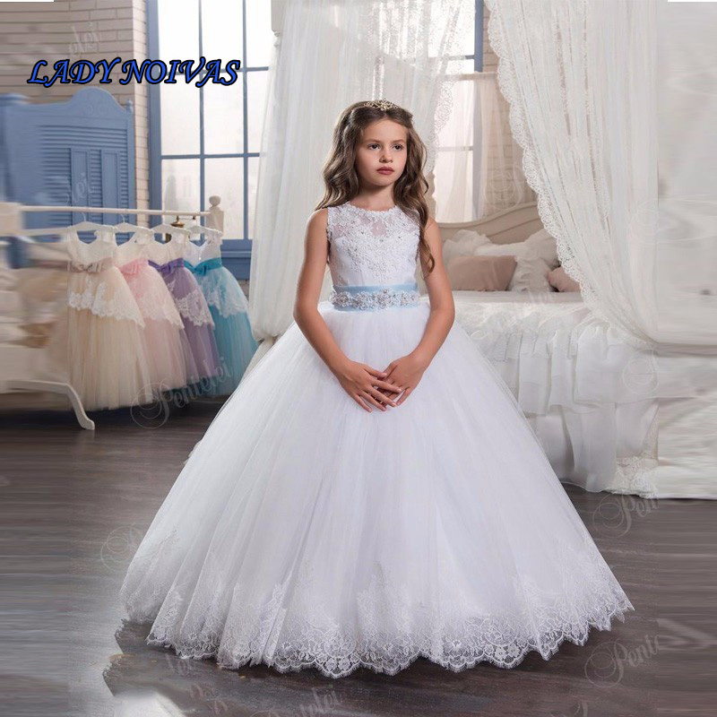 LADY NOIVAS   Flower     Girl     Dresses   For Weddings With Beading Belt Lace Vestido Primera Comunion Ball Gowns   Girl     Flower     Dress   Tiered