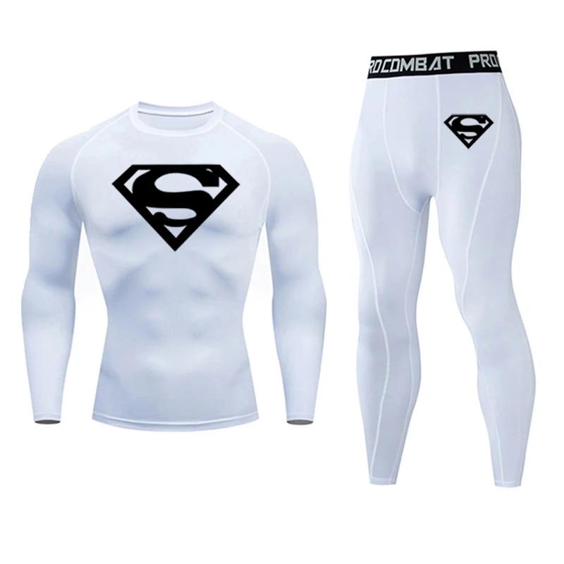 Superman logo 2pcs //sets men suit rashguard male kit MMA compression clothing