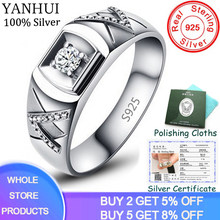 Free Sent Certificate! 100% Original 925 Solid Silver Rings Gift For Men Natural 0.5Ct CZ Zircon Wedding Rings Fine Jewelry R077(China)