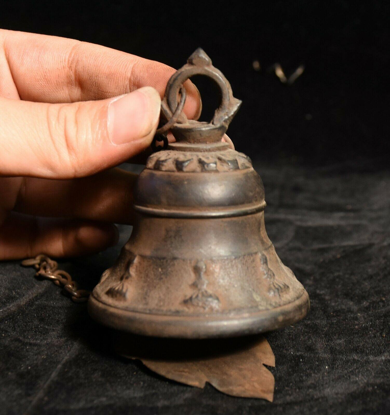 Decorazione di cerimonia nuziale Vecchio Tibetano Buddismo Tempio Bronzo Appeso Campana Zhong windbell Statua - 2