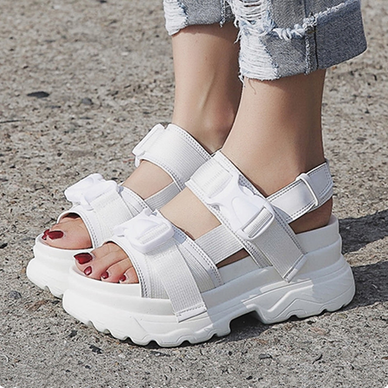Platform Sandals Beach-Shoes Buckle-Design Thick Sole Comfortable Black White Summer