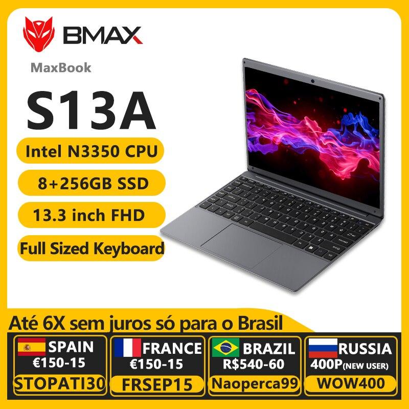 BMAX S13A 13.3 Inch Intel Celeron N3350 1920x1080 IPS Notebook 8GB RAM 128GB ROM Laptops Windows 10 Computer Pc Portable Netbook Laptops  - AliExpress