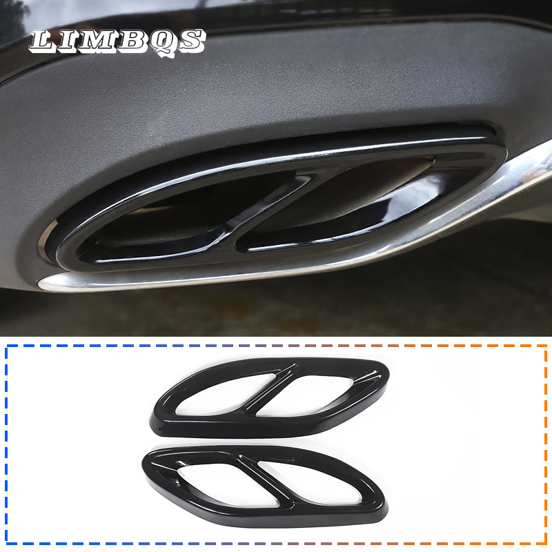 2PCS Car Tail Throat Exhaust Pipe Muffler Tip Steel Exhaust Trims for Mercedes Benz GLC C E-Class C207 Coupe 2014-2017 W213