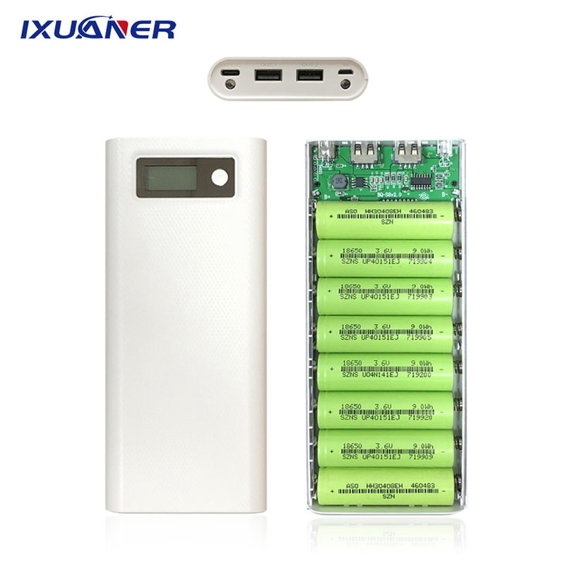 8x18650 Power Bank Case Battery Charger Box Dual USB Dual LED Light LCD Digital Display Mobile Phone Charger DIY Shell Case Kit